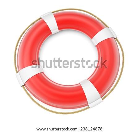 Lifebuoy isolated on white background. 3d render - stock photo