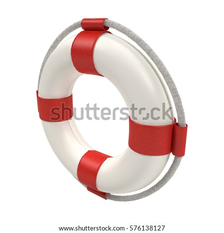 Lifebuoy isolated on white - 3d rendering