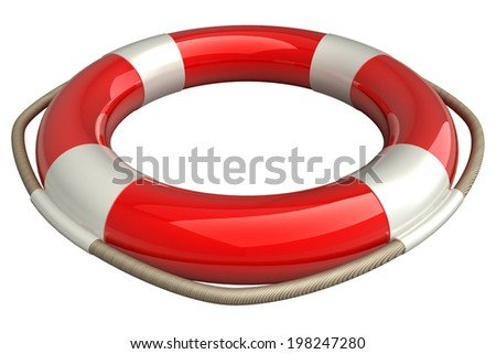 Lifebuoy. isolated white background. 3d. - stock photo