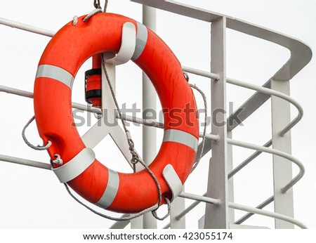 Lifebuoy on a ship railing