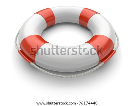 Lifebuoy on a white background. 3d rendered image