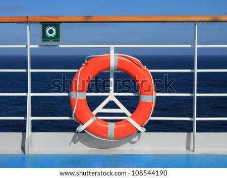 Lifebuoy on the deck of the cruising liner