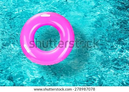 Lifebuoy on water background - stock photo