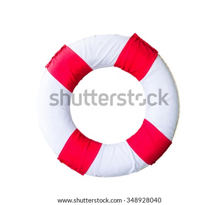Lifebuoy ring isolated on a white background,with clipping path - stock photo