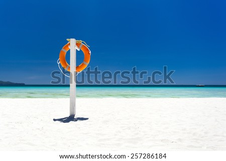 Lifebuoy ring on tropical beach, Boracay