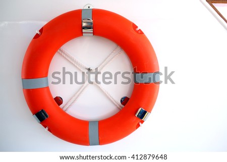 Lifebuoy ring onboard the ship, a close up - stock photo
