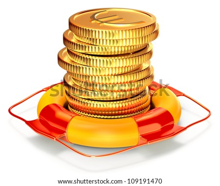 Lifebuoy with a euro coins set as a symbol of capital preservation - stock photo
