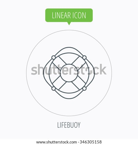 Lifebuoy with rope icon. Lifebelt sos sign. Lifesaver help equipment symbol. Linear outline circle button.  - stock photo