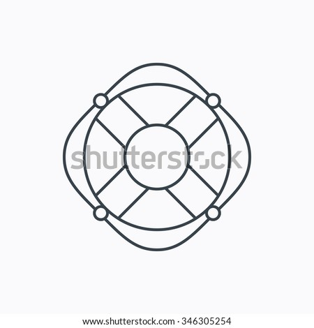Lifebuoy with rope icon. Lifebelt sos sign. Lifesaver help equipment symbol. Linear outline icon on white background.  - stock photo