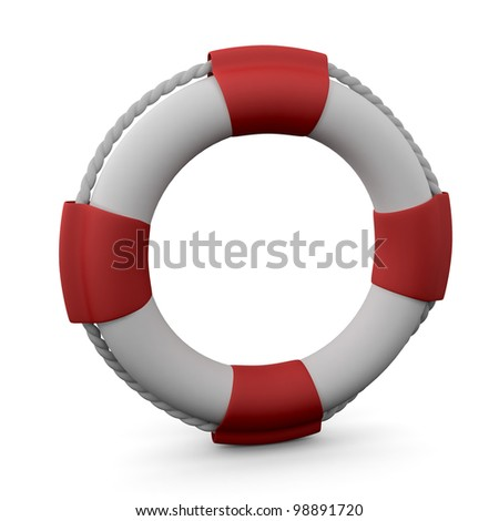 Lifebuoy with shadow on white background