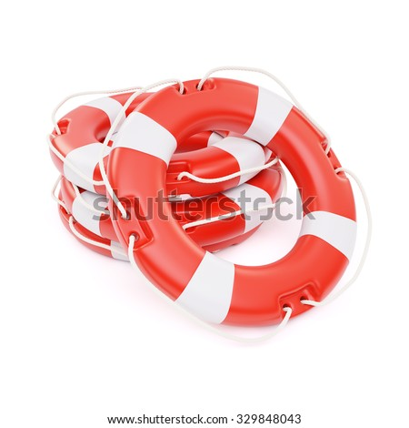 Lifebuoys isolated on white background