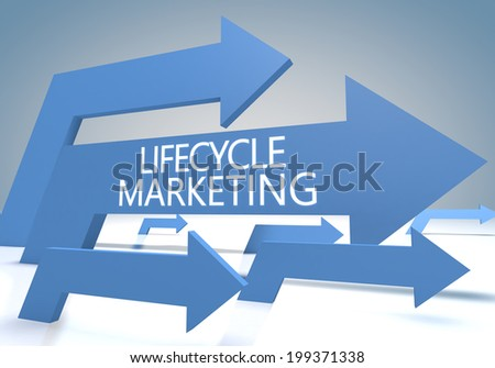 Lifecycle Marketing 3d render concept with blue arrows on a bluegrey background. - stock photo