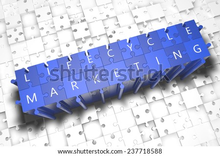 Lifecycle Marketing - puzzle 3d render illustration with block letters on blue jigsaw pieces  - stock photo