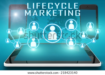 Lifecycle Marketing - text illustration with social icons and tablet computer and mobile cellphones on cyan digital world map background - stock photo