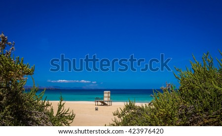 Lifeguard booth on the beach in Corralejo National Park, Fuerteventura, Canary Islands, Spain - stock photo