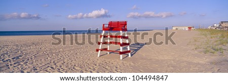 Lifeguard chair at the beach in morning, Cape May, New Jersey
