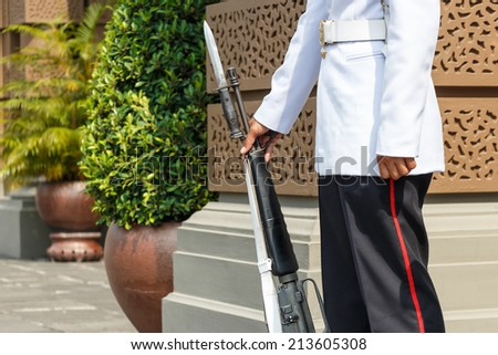 lifeguard hold rifle in front of royal palace - stock photo