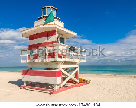 Lifeguard Hut in South Beach,Miami - stock photo
