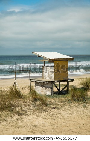 Lifeguard hut on La Pedrera beach resort, Uruguay, South America