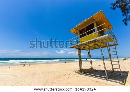 Lifeguard hut on the beach, Surfers Paradise - stock photo