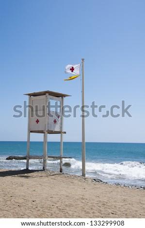 Lifeguard observation tower station on spanish coast - stock photo