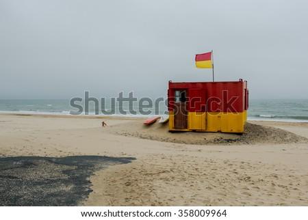 Lifeguard Station at Brittas Bay in Ireland - stock photo