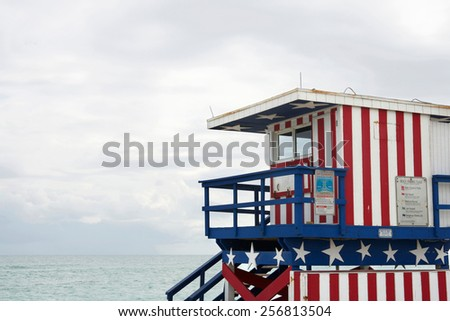 Lifeguard station at Miami Beach on a cloudy day, Florida. - stock photo