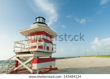 Lifeguard station in South Beach, Miami Florida - stock photo