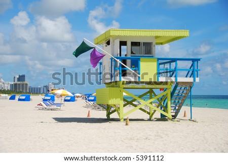 Lifeguard station on a Florida beach - stock photo