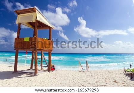 Lifeguard station on Cancun beach  - stock photo