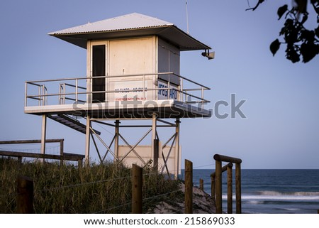 Lifeguard Tower/ an Australian Surf Life Saver's tower shot in the evening