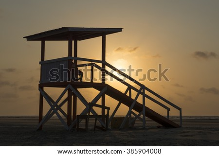 Lifeguard tower at Cartagena Colombia Beach - stock photo