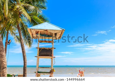 lifeguard tower at pattaya beach, thailand - stock photo