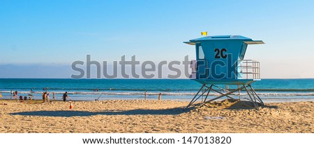 Lifeguard Tower at the Beach in San Diego, California - stock photo