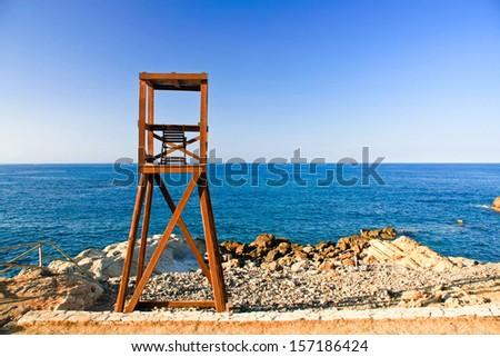 lifeguard tower in Crete, Greece - stock photo