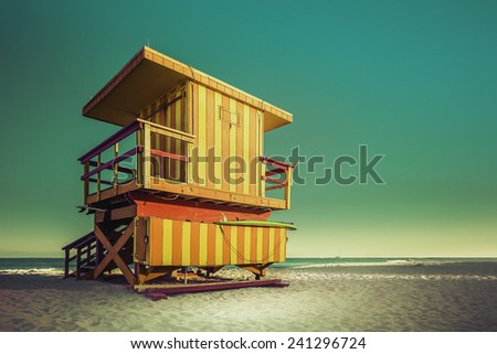 Lifeguard Tower in South Beach with copy space, Miami Beach, Florida - stock photo