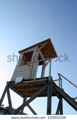 Lifeguard tower. Lifeguard hut on the beach. - stock photo