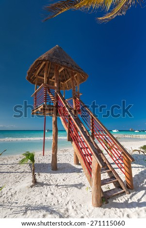 Lifeguard tower on caribbean beach, Cancun, Mexico - stock photo