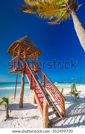 Lifeguard tower on caribbean beach, Cancun, Mexico - stock photo
