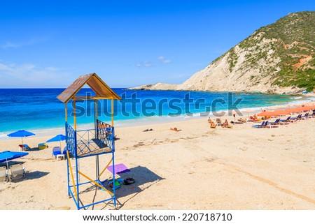 Lifeguard tower on Petani beach and azure sea, Kefalonia island, Greece  - stock photo