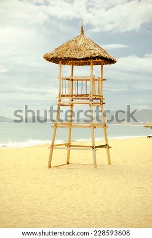 Lifeguard tower on the beach. - stock photo