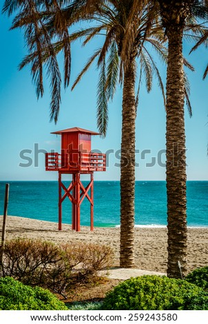 Lifeguard tower on the beach. Benalmadena, Malaga. Spain - stock photo
