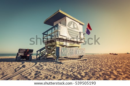 Lifeguard Tower on the Beach, Miami Beach, Florida. Low angle view