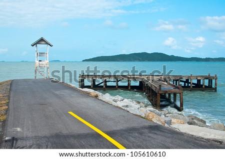 Lifeguard tower on the  beach on Samed national park, Thailand - stock photo