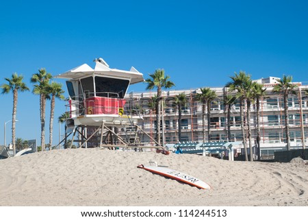 Lifeguard tower with blue sky on California Beach, Summer and Travel concept