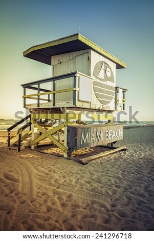 Lifeguard Tower with light leaks, Miami Beach, Florida