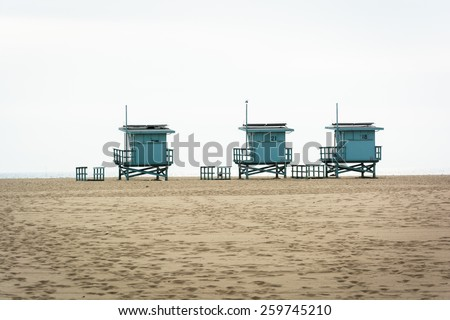 Lifeguard Towers On The Beach, In Venice Beach, Los Angeles, California.