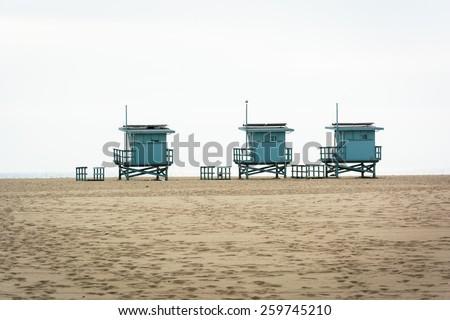 Lifeguard towers on the beach, in Venice Beach, Los Angeles, California. - stock photo