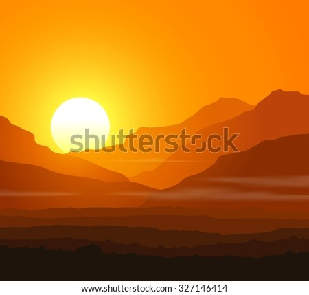 Lifeless landscape with huge mountains at sunset.  Raster illustration.  - stock photo