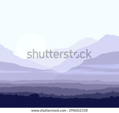 Lifeless landscape with huge mountains over sun. Raster version of the illustration. - stock photo